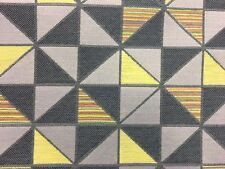 DESIGNER GEOMETRIC GREY & YELLOW UPHOLSTERY CURTAIN FABRIC MATERIAL SALE!