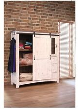 White Eliza Sliding Barn Door Gentlemans Chest Armoire - Solid Wood - Quality