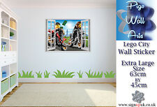 Lego City wall sticker 3D Window View Wall Stickers Art Decal Mural.