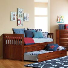 Twin Mission Rake Bed with Storage Drawers and Trundle Bed