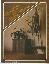 Macrame for Home Decor Vol. 1 Vintage Pattern Book NEW 1976 Curtain Room Divider