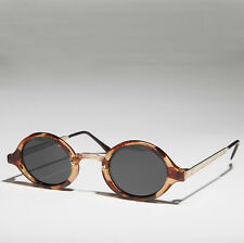 Art Deco Oval Sunglasses with Embossed Metal Temples Tortoise/Gold/Gray- DEGAS