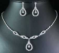 TEARDROP CLEAR AUSTRIAN RHINESTONE NECKLACE EARRINGS SET BRIDAL WEDDING N1683