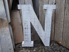 Large Distressed WHITE Weathered WOOD Marquee Wall Decor Wedding Prop LETTER = N