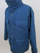 Vintage Woolrich Cotton Nylon Solid Blue Winter Coat Full Zip Jacket Made in USA