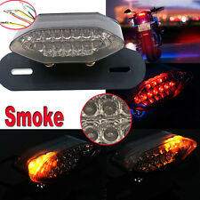 12V Smoke 20LED Motorcycle Brake Tail Turn Signal License Plate Integrated Light