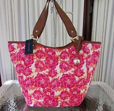 Tommy Hilfiger Floral Tote Shoulder Bag Convertible Pink Canvas NWT $99