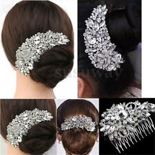 Women Bridal Crystal Hair Comb Rhinestone Silver Flower Bride Wedding Accessory