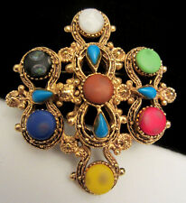 "Rare Vtg 2"" Signed Florenza Goldtone Colorful Cabochon Statement Brooch Pin A42"