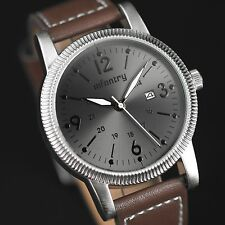 INFANTRY Mens Quartz Wrist Watch 24 Hrs Date Night Vision Military Army Leather