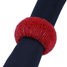 6 RED BEADED ROUND NAPKIN RINGS, 100's Available for Events