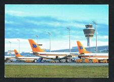 HAPAG LLOYD AIRLINES AIRPLANES AT MUNICH AIRPORT GERMANY POSTCARD STAMP
