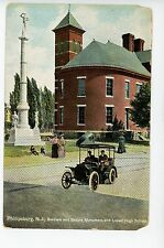 Men in Strange Car PHILLIPSBURG NJ Monument & Lovell High School Antique PC 1910