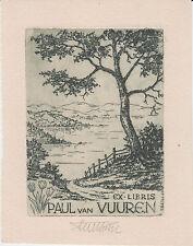 EX-LIBRIS Paul van VUUREN gravé en 1952 par Fritz BÖTEL (1896-1984), de CELLE.