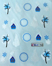 Nail art stickers décalcomanie: Flocons de neige - arbres - maisons - sapins