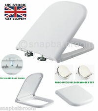 Square White Soft Close Toilet Seat Top Fixing Quick Release Hinge Easy Clean UK