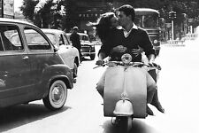 VESPA COUPLE RIDING & KISSING VINTAGE POSTER 20 X 30 DIGITAL PHOTOGRAPHY PRINT
