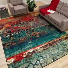 Multi Color Area Rug 5x8 Indoor Red Blue Bright Vibrant Colors Living Room Decor
