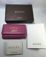 AUTHENTIC NWT GUCCI Leather Key Holder Case in Purple Pink 354499 +receipt
