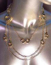 CHIC & FABULOUS Designer 3 Strands Gold Horsebit Links Chains Layered Necklace