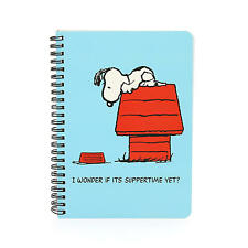 A5 PEANUTS SUPPERTIME SOFTBACK NOTEBOOK LINED PAD SCHOOL RETRO WIRO SNOOPY BROWN