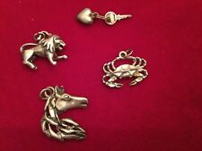 Assorted Lot Of Four Sterling Silver Charms Lion Crab Horse Heart - Excellent