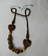 Good Wooden Handmade Ethnic Necklace from Java Long Rosary Wood Beaded ChainKJ55