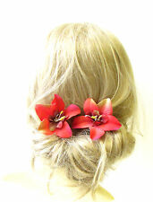 2 x Caribbean Red Orchid Flower Hair Grips Clips Vintage Bobby Pins 1950s 1762