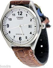 Casio MTP1175E-7B Men's White Analog Watch Brown Leather Band New Date Display