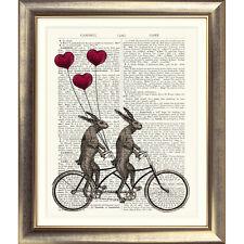 Impresión de arte en Original Antiguo Libro página Bicicleta tándem Liebre corazón Globo Conejo