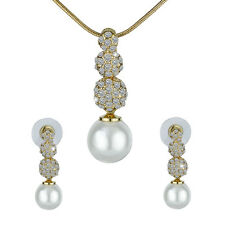 Designer Bridal Set Indian Wedding Necklace +Earrings Pearl Crystal Lady Jewelry