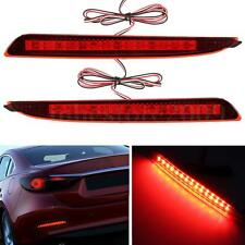 2x Red LED Brake Stop Lights Lamps Rear Tail Bumper Reflector For Mazda 3 Axela