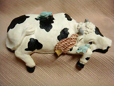 Black & White COW w/ BLUEBIRDS Shelf Sitter MUSIC BOX - Frere Jacques