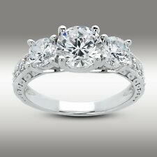 2.67 CT Three Stone Engagement Ring Brilliant cut w/Accents 14K Solid White Gold