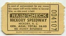 Vintage 1950s HICKORY MOTOR SPEEDWAY Ticket Stub NC Race Short Track Racing