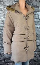 New Womens Hooded Beige Hooded Warm Winter Parka Coat Size 10 / 12  (Eu 36 / 38