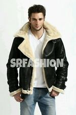 Men's Stylish B3 Bomber Full Fur Removable Hood Genuine Cow Leather Jacket.