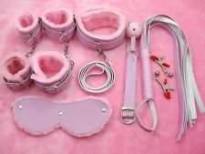 HOT Restraint Harness Pink Adult SM Sex Toy BDSM Hand Ankle Cuffs Leather Whip