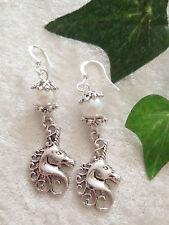 Einhorn Ohrringe mit Perle  unicorn  Fantasy Märchen Magie