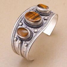 Unisex Gift Charm Oval Tiger's Eye Stone Bead Cuff Bracelet Bangle Tibet Silver
