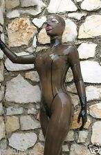 100%Latex Rubber Bodysuit Gray smoke Suit Hood Catsuit Tights available XS-XXL