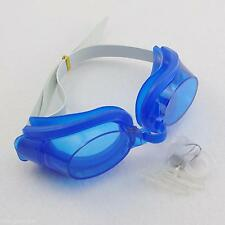 Water Sport Swimming Diving Frame Blue Goggles Glasses & Earplug & Nose Clip