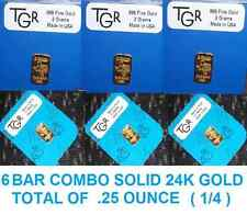 GOLD 6 BARS  PREPPER PERFECT COMBO 999 BULLION TOTAL OF .25 OUNCES ( 1/4 OZ )