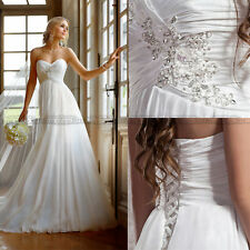 Fashion Chiffon Summer White/Ivory Wedding Dress Bridal Gown Size 4 6 8 10 12 14