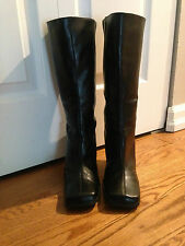 BRAND NEW SEXY FEMINA BLACK LEATHER HIGH HEEL BOOTS ZIP UP IN BACK SZ 7