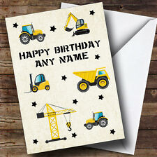 Digger Trucks Tractors Construction Cute Personalised Children's Birthday Card