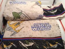 Vtg. Star Wars Twin Bed 3 pc Sheet Set Flat, Fitted & Pillowcase Bravo Squadron