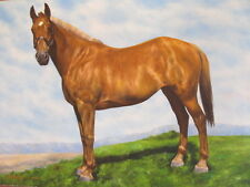 FINEST LUIGI VINTAGE HORSE OIL PAINTING SIGNED MYSTERY ARTIST BLUE SKY CLOUDS