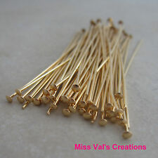 50 gold plated brass jewelry headpins 2 inch 21 gauge
