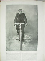 THE SPORTFOLIO PORTRAITS 1896 VINTAGE CYCLING PHOTOGRAPH PRINT C.G. WRIDGWAY